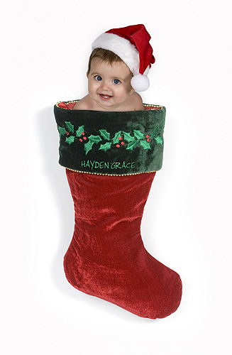 Hayden in a Christmas Stocking