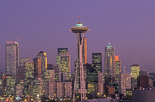 Seattle Skyline and Space Needle at Dusk,...