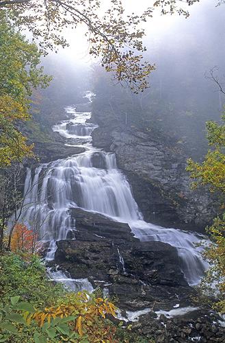 Waterfall Along the Cullasaja River, Highlands,...