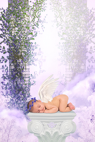 Baby Angel in the Clouds