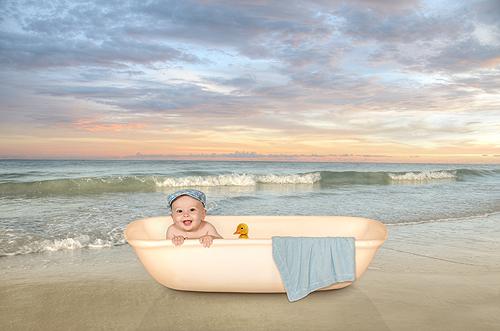 Declan, Bathtime on the Beach