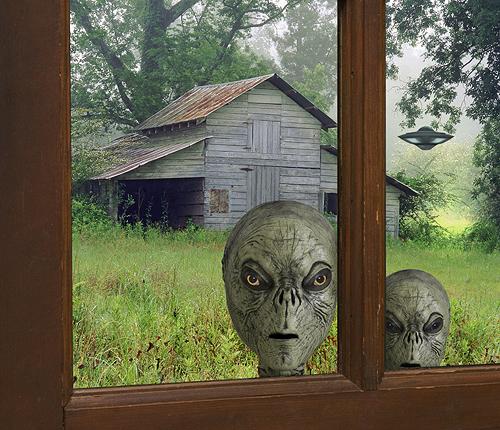Aliens Peeking in Window