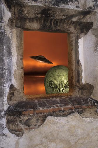 UFO and Alien Peeking in Window