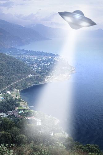 UFO Shining Light Beam