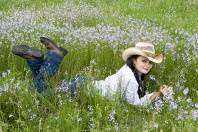 Country Girl in Wildflowers