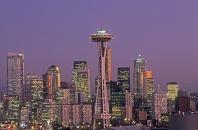 Seattle Skyline and Space Needle at Dusk, Washinton