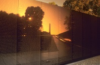 Vietnam Wall and Reflection of the National Monument at Sunrise