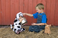 Levi Jr. and Rylee, The Dairy Farmer and the Baby Cow
