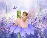 Ashlyn, Fairy Reading on a Daisy