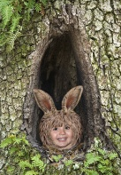 Hayden, Cottontail Peeking from the Bunny Hole